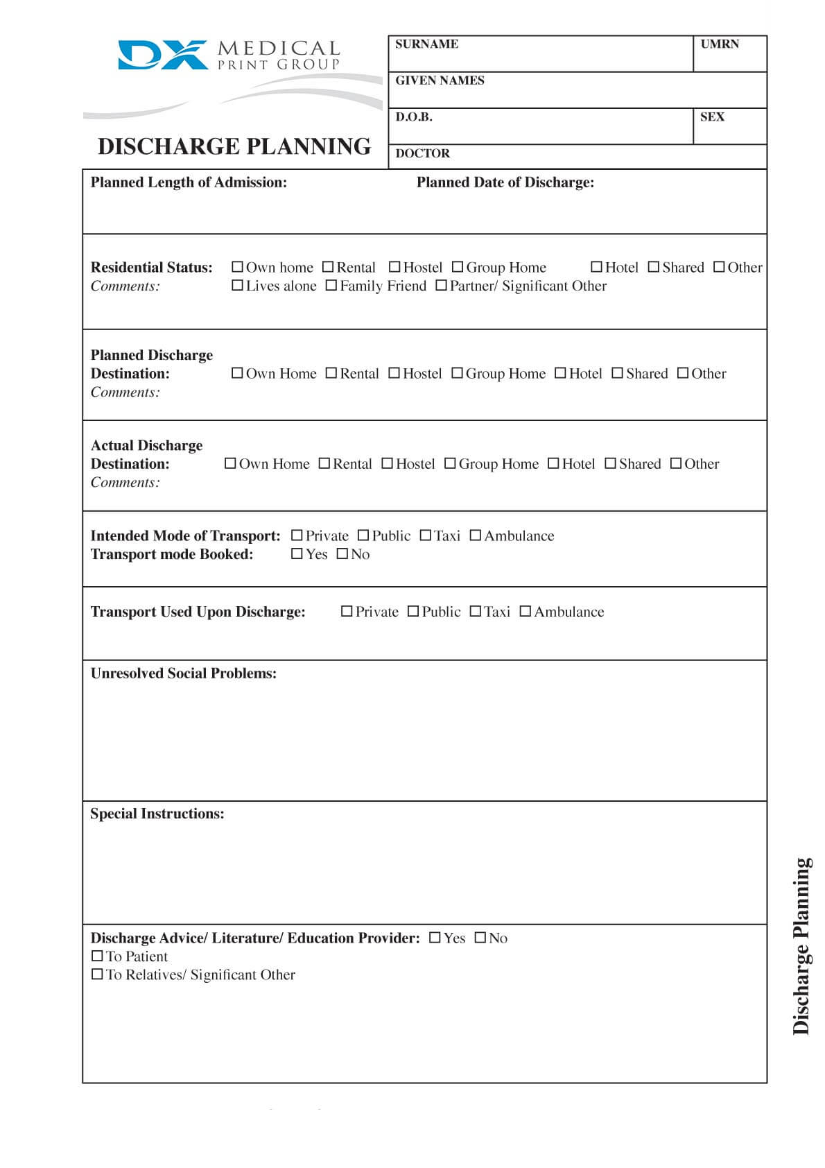 sample discharge summary template