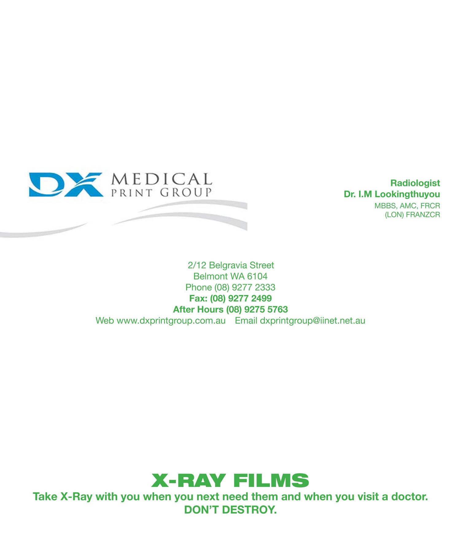 Gallery - Medical Stationery Portfolio - DX Medical Stationery