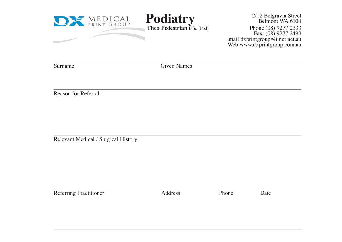 referral-pad X Ray Order Form Template on finger number, dexis adding, technique chart,